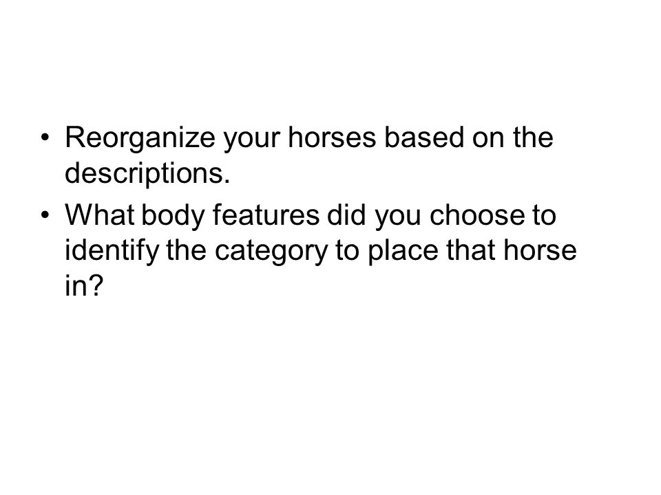 Reorganize your horses based on the descriptions.