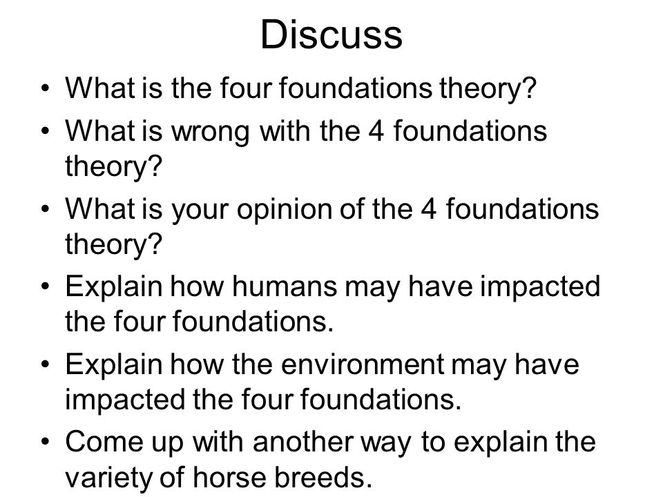 Discuss What is the four foundations theory
