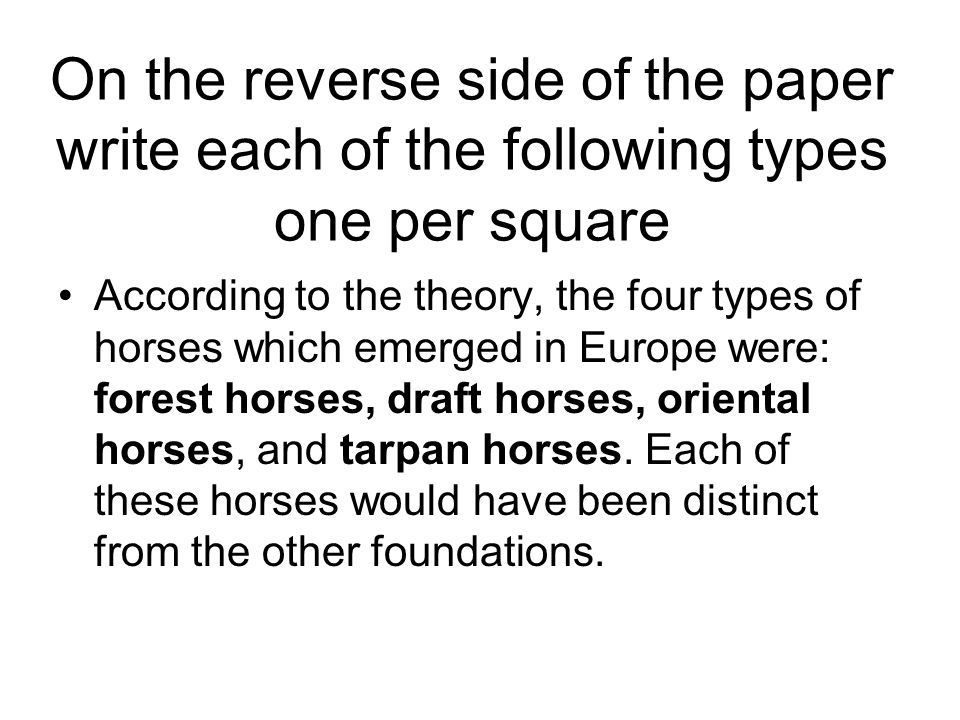 On the reverse side of the paper write each of the following types one per square