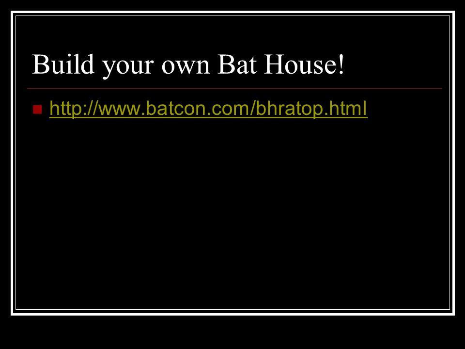 Build your own Bat House!