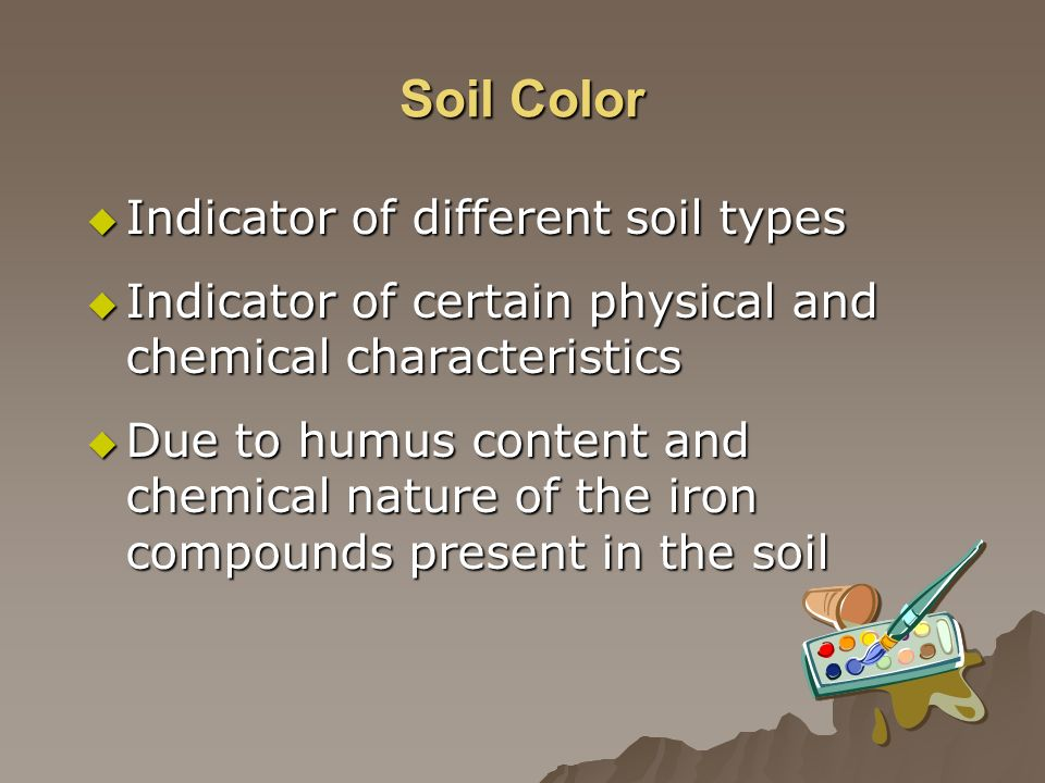 Soil Color Indicator of different soil types