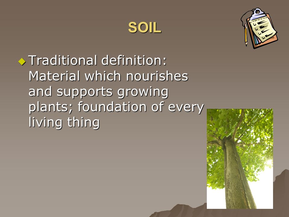 SOIL Traditional definition: Material which nourishes and supports growing plants; foundation of every living thing.