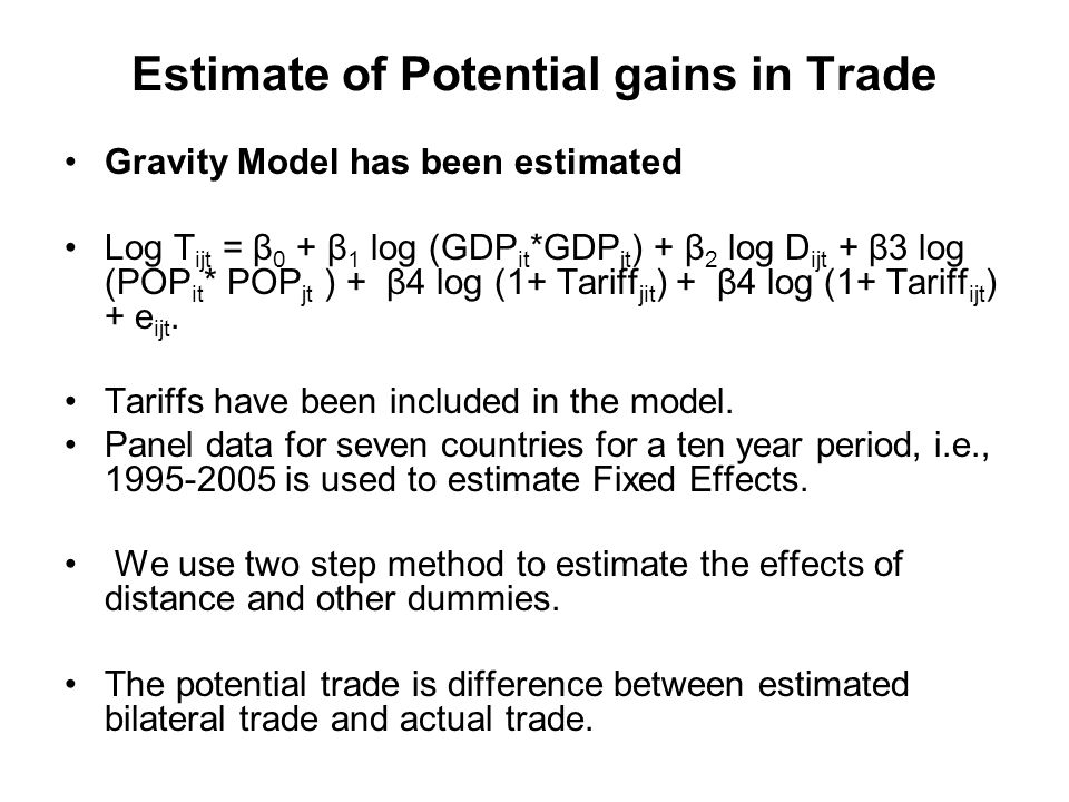 Estimate of Potential gains in Trade