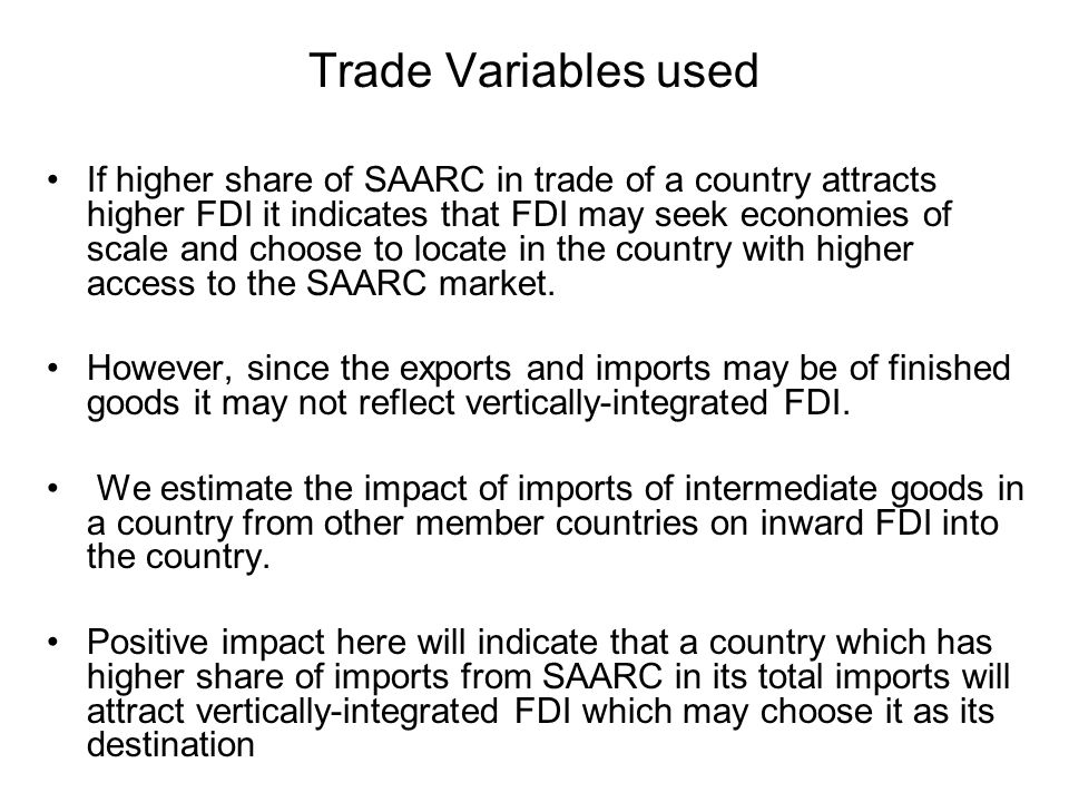 Trade Variables used