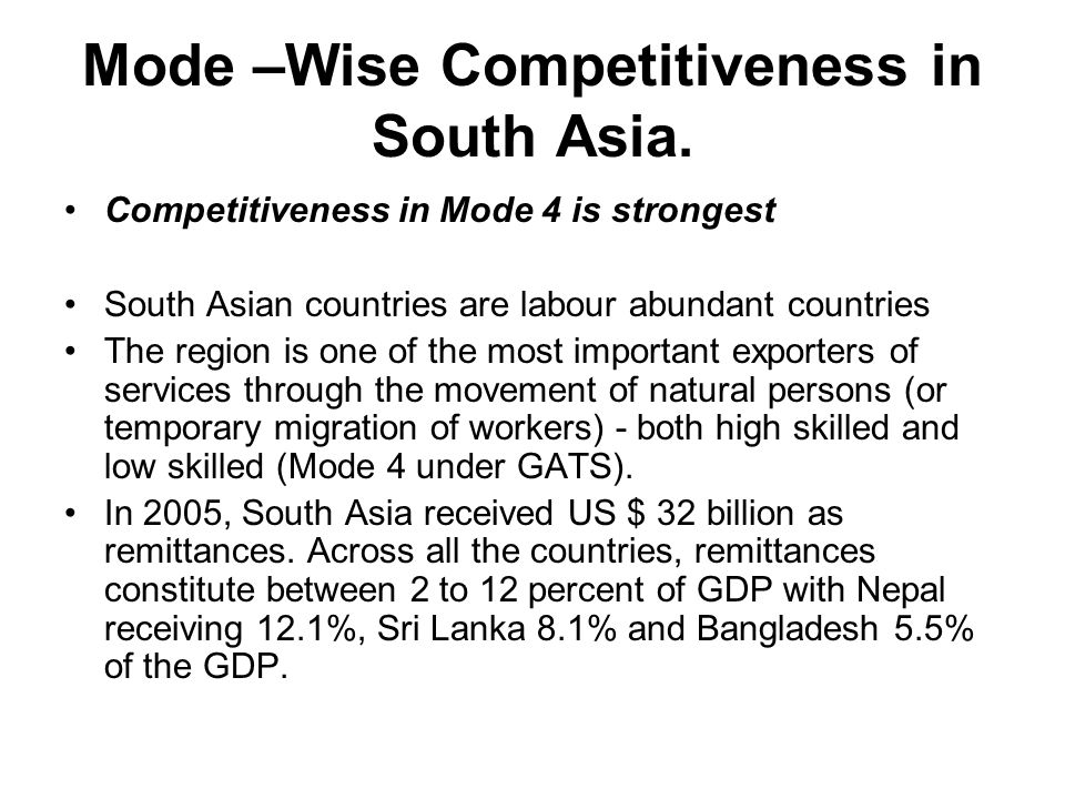 Mode –Wise Competitiveness in South Asia.