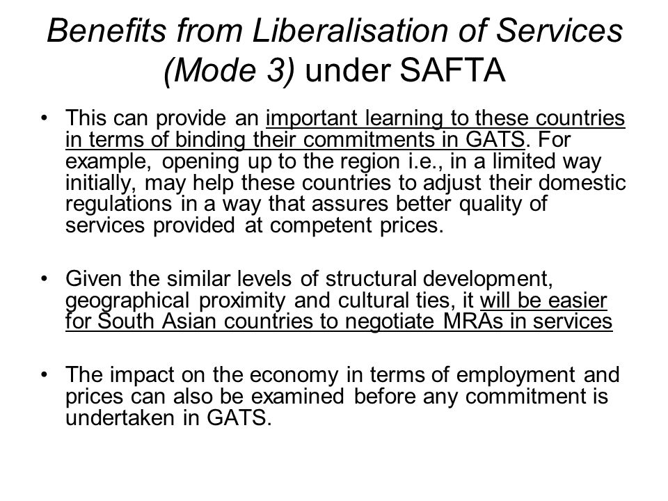 Benefits from Liberalisation of Services (Mode 3) under SAFTA