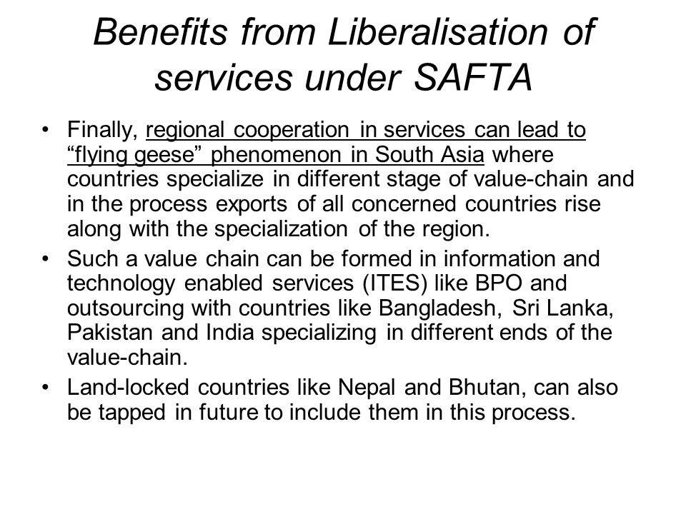 Benefits from Liberalisation of services under SAFTA