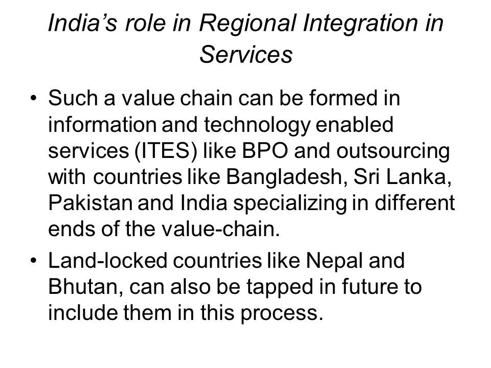India's role in Regional Integration in Services