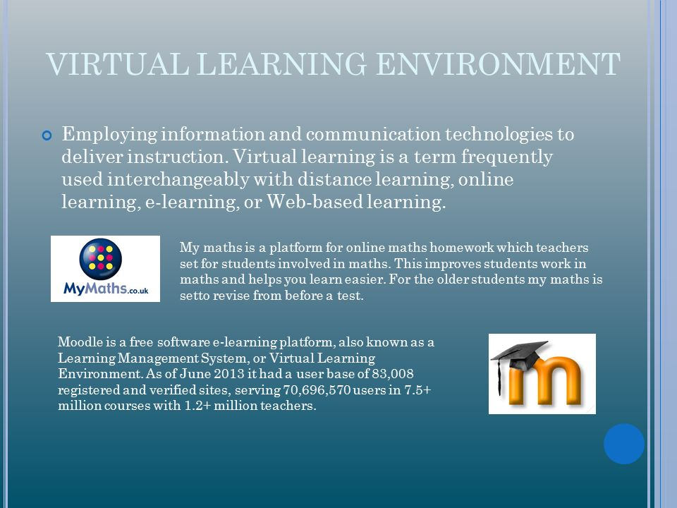 virtual learning envirionments Abstractlinks have been reported in the literature between lecture attendance and academic performance the effect of a student's use of a virtual learning environment (vle) on their academic performance has not been the subject of extensive research, but is likely to be of interest to both students and the lecturers who develop resources for.
