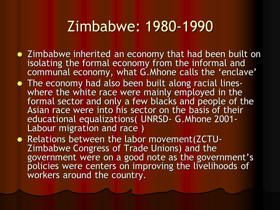 Zimbabwe: 1980-1990