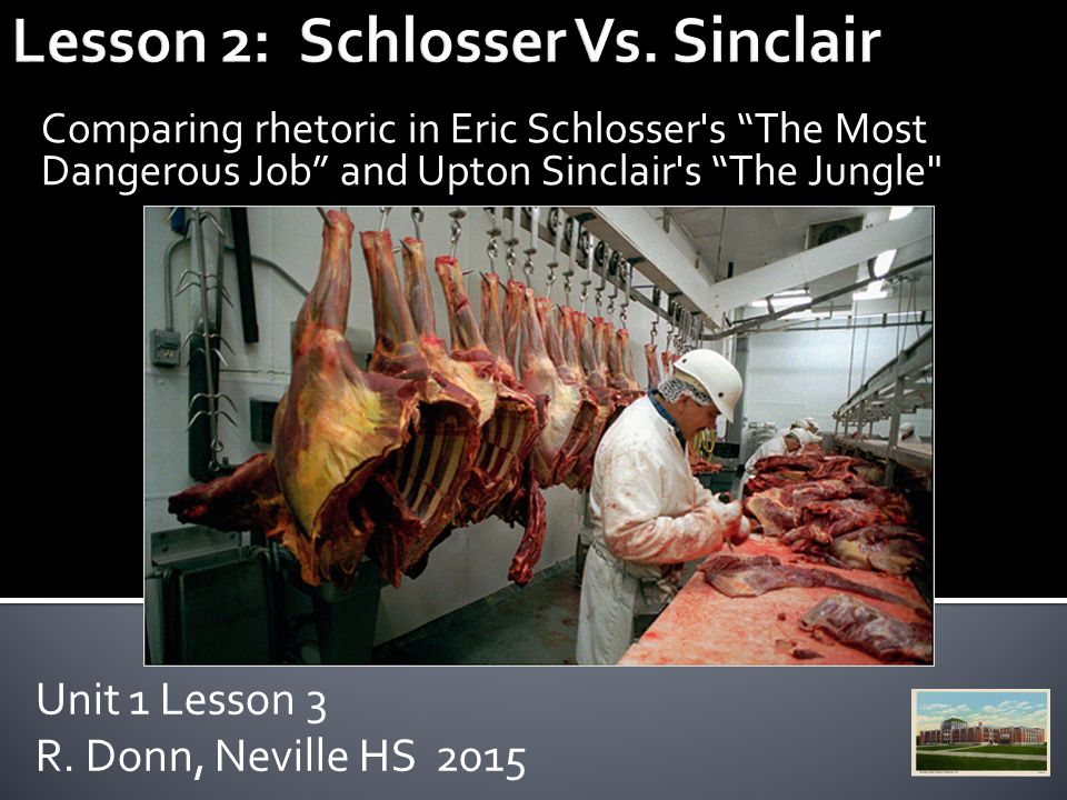 """eric schlosser the most dangerous job """"the most dangerous job"""" excerpted from the book fast food nation, by eric schlosser, 2002 p169 one night i visited a slaughterhouse somewhere in the high plains."""