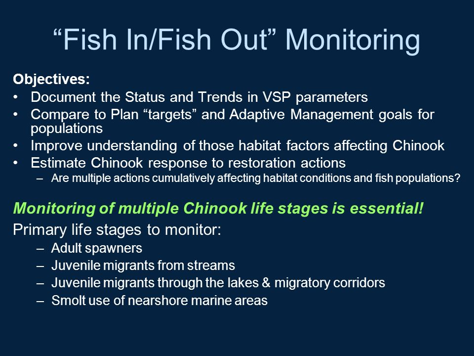 Fish In/Fish Out Monitoring