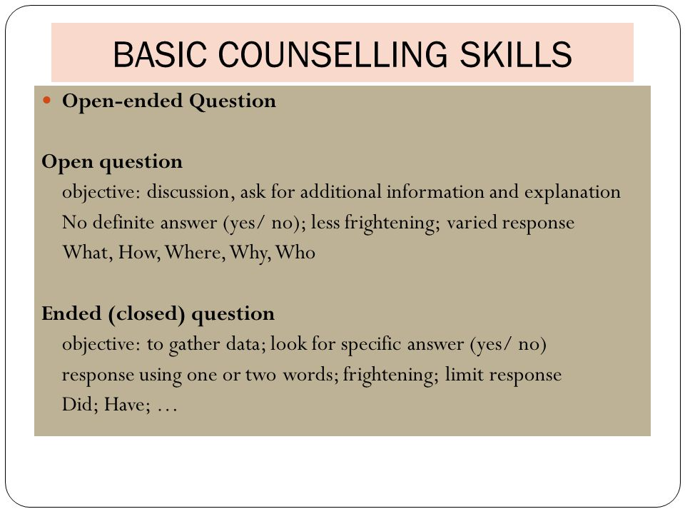 counselling interview skills ass 1 1:1 crisis counseling is discrete and has limited goals to ensure safety and promote overall stability the goal is to provide emotional support and concrete feedback/assistance for the individual.