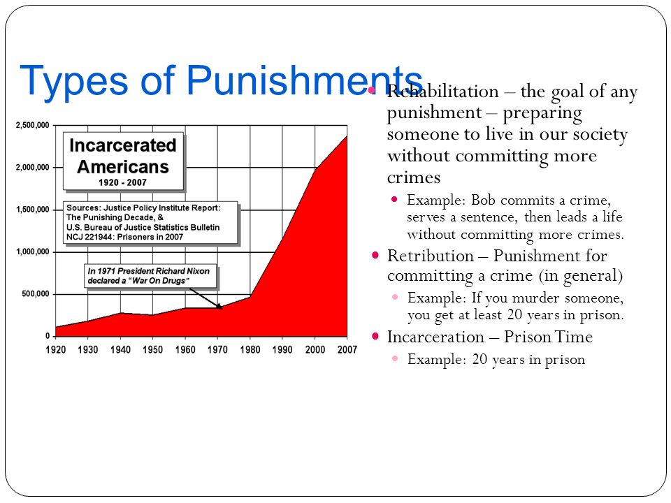 Types of Punishments Rehabilitation – the goal of any punishment – preparing someone to live in our society without committing more crimes.