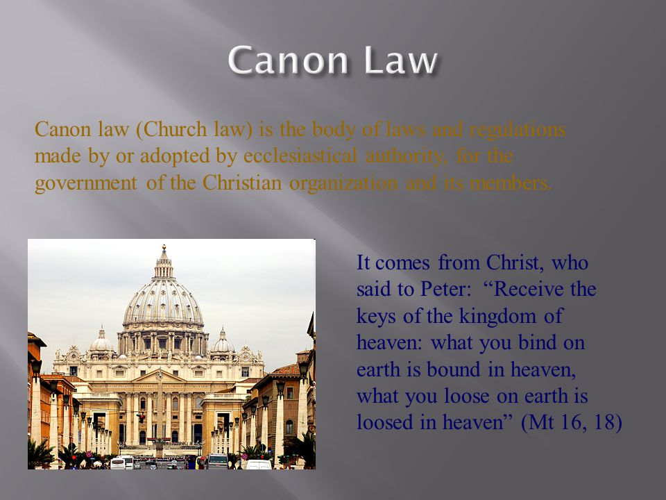 civil law and canon law on Cathy caridi, jcl, is an american canon lawyer who practices law and teaches in rome she founded this website to provide clear answers to canonical questions.