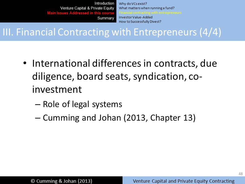 Chapter 4: Venture capital financial contracting: an overview of the international evidence