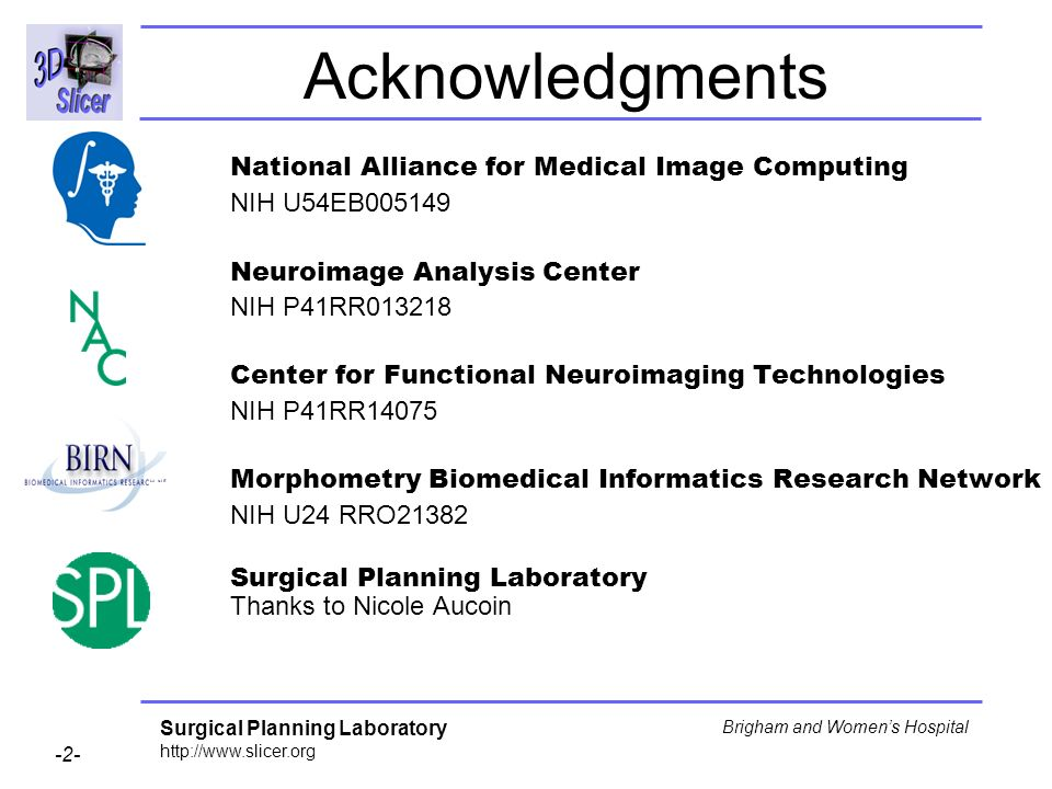 Acknowledgments National Alliance for Medical Image Computing