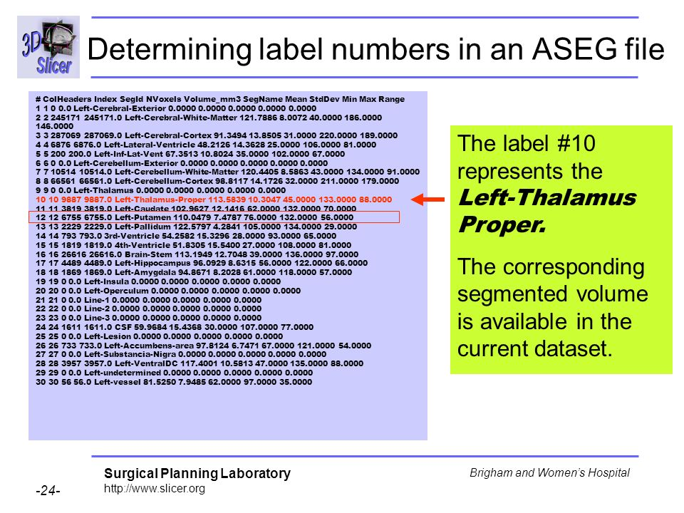 Determining label numbers in an ASEG file