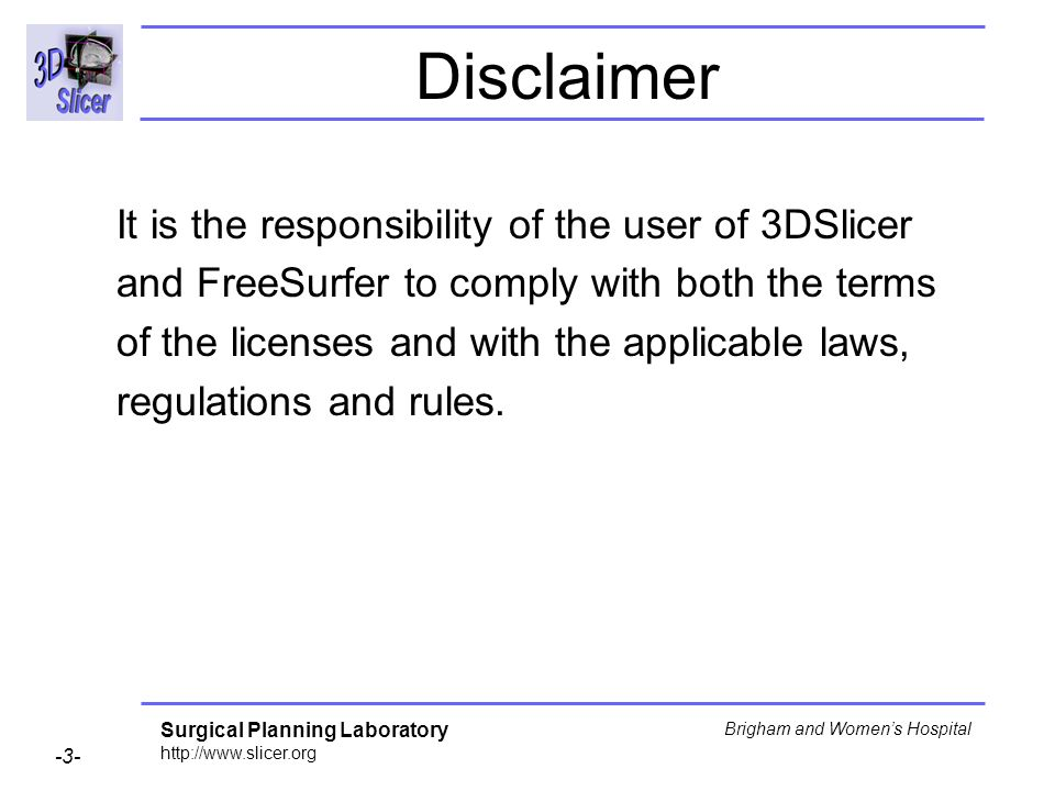 Disclaimer It is the responsibility of the user of 3DSlicer