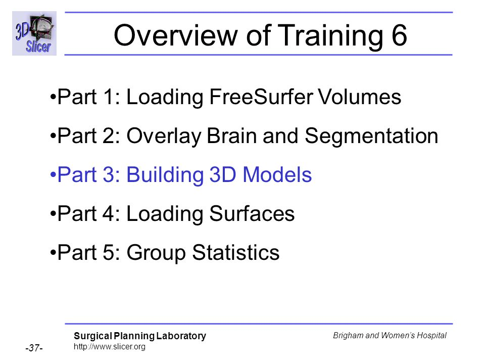 Overview of Training 6 Part 1: Loading FreeSurfer Volumes