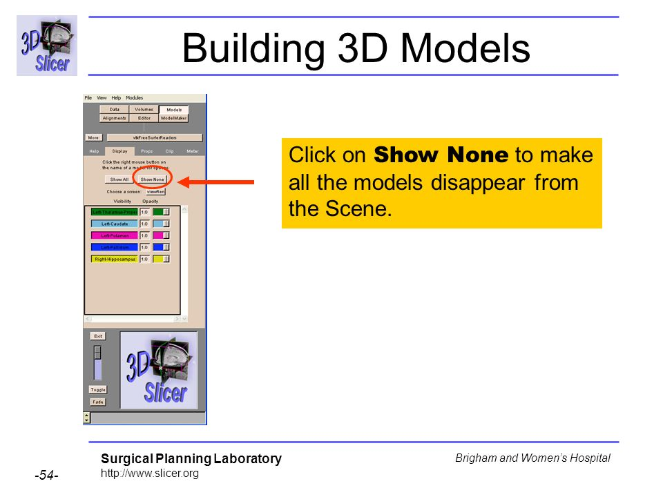 Building 3D Models Click on Show None to make all the models disappear from the Scene.