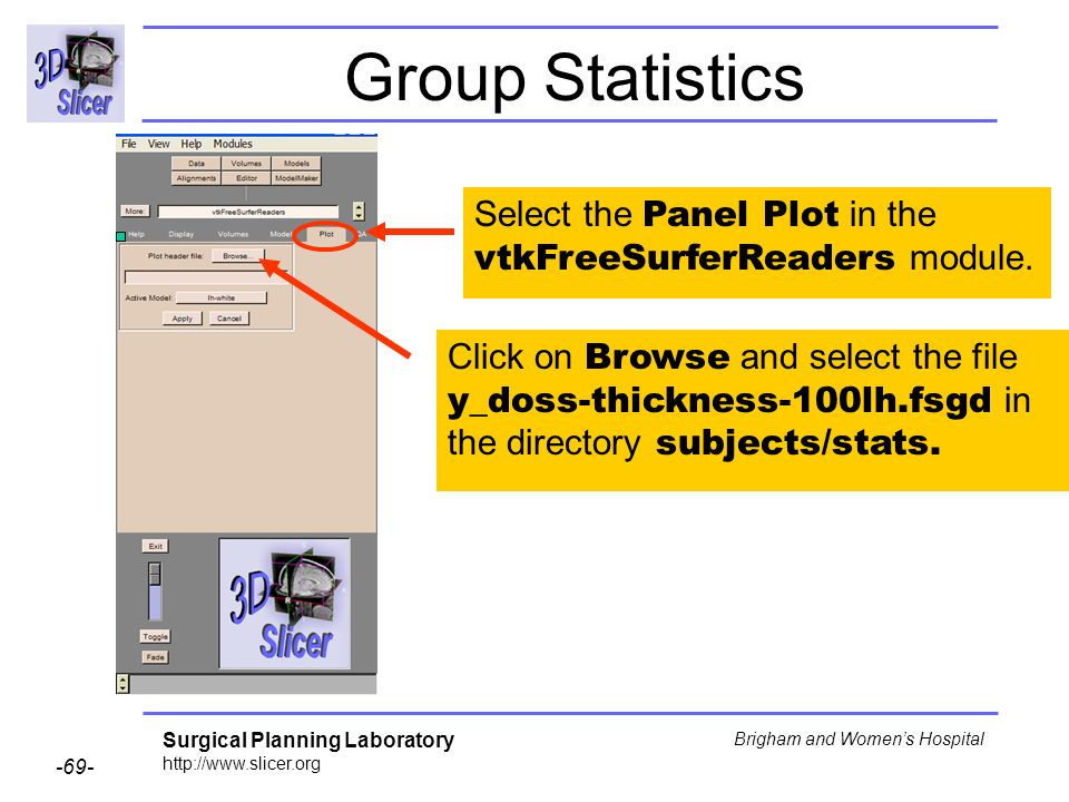 Group Statistics Select the Panel Plot in the vtkFreeSurferReaders module.