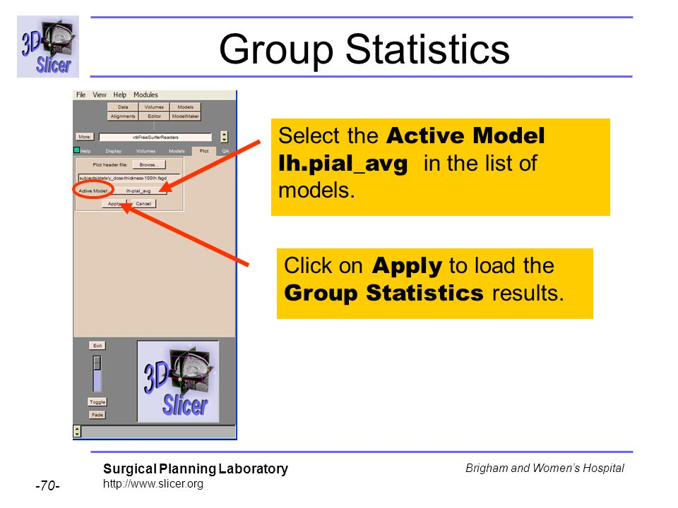 Group Statistics Select the Active Model lh.pial_avg in the list of models.