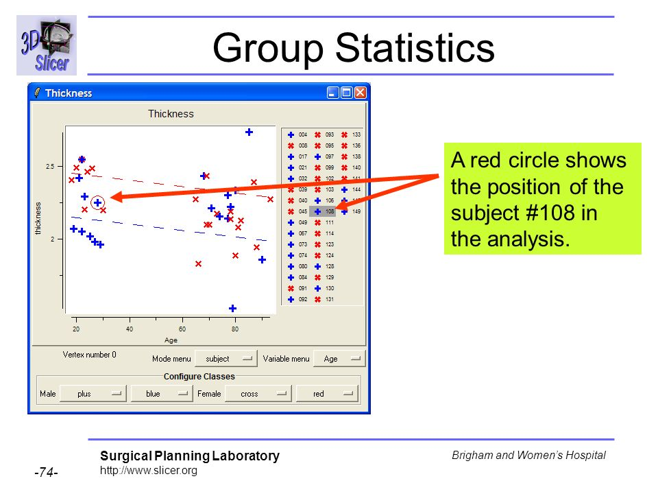 Group Statistics A red circle shows the position of the subject #108 in the analysis.