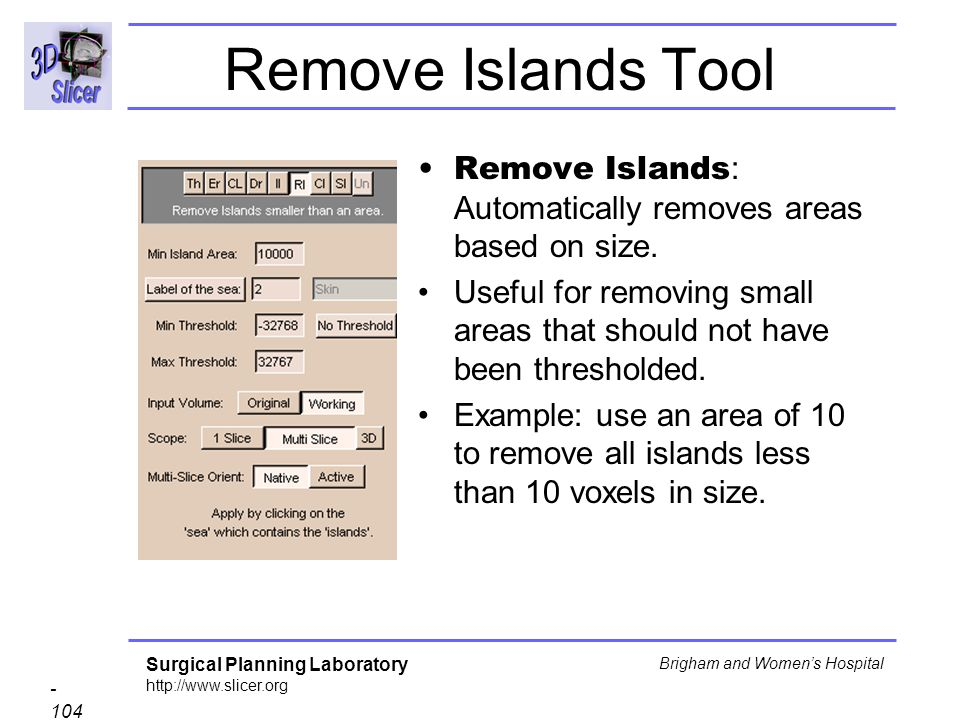Remove Islands Tool Remove Islands: Automatically removes areas based on size.