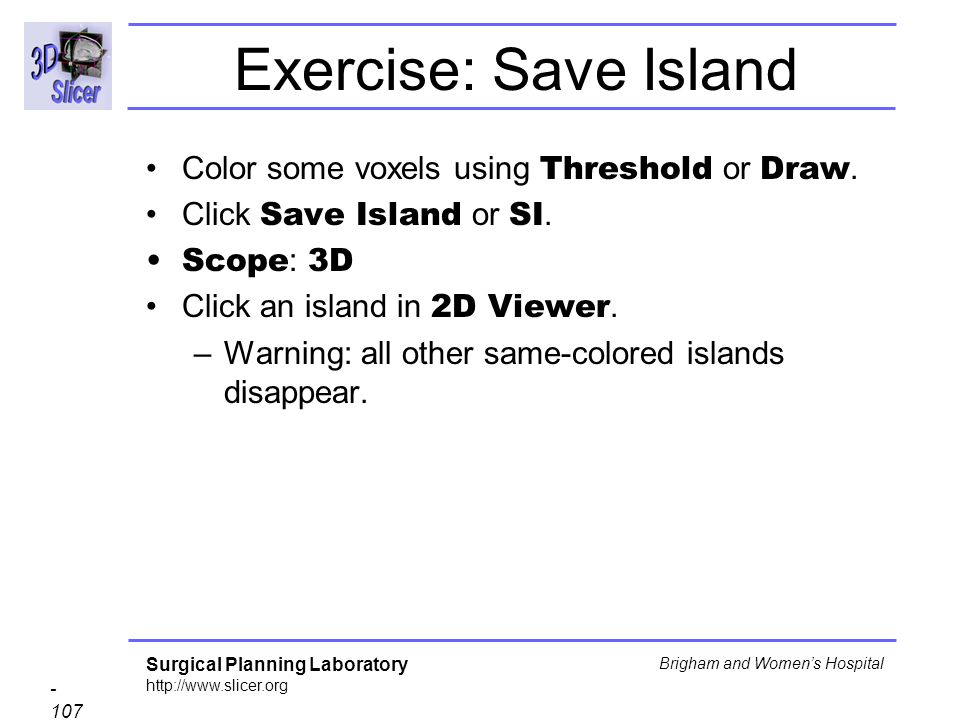 Exercise: Save Island Color some voxels using Threshold or Draw.