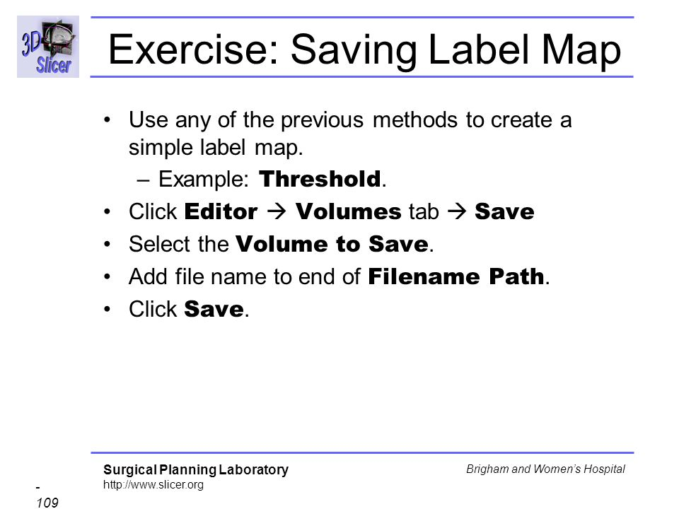 Exercise: Saving Label Map