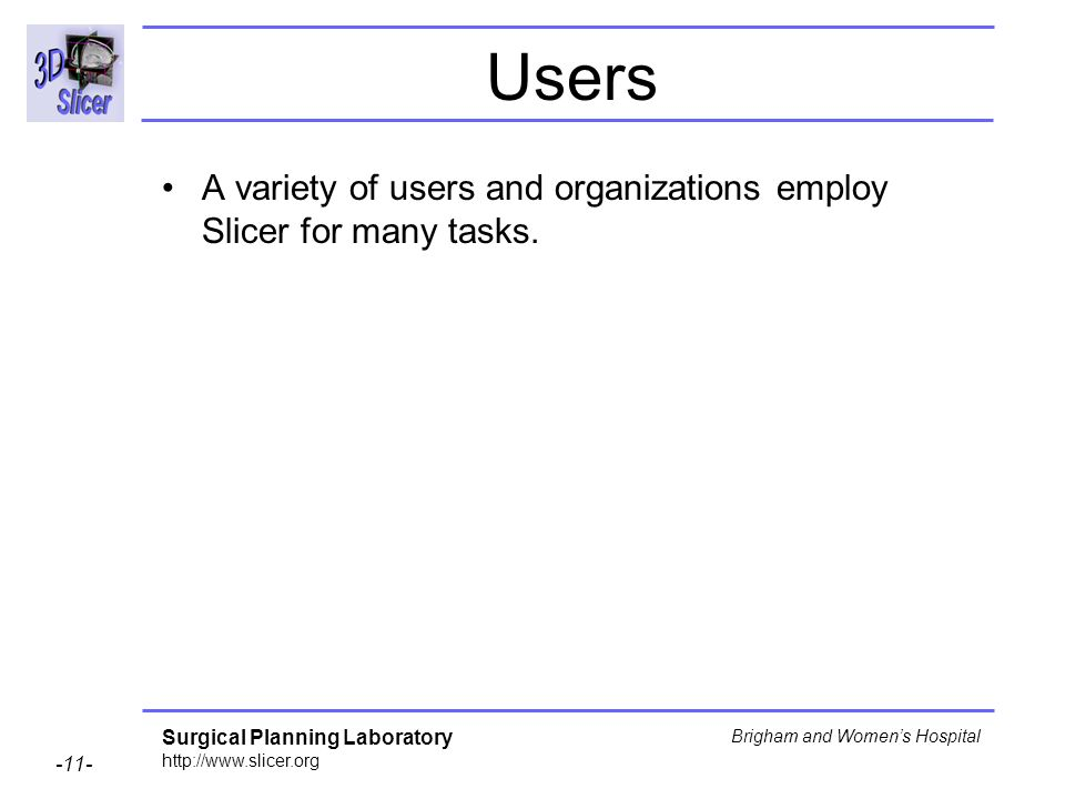 Users A variety of users and organizations employ Slicer for many tasks.