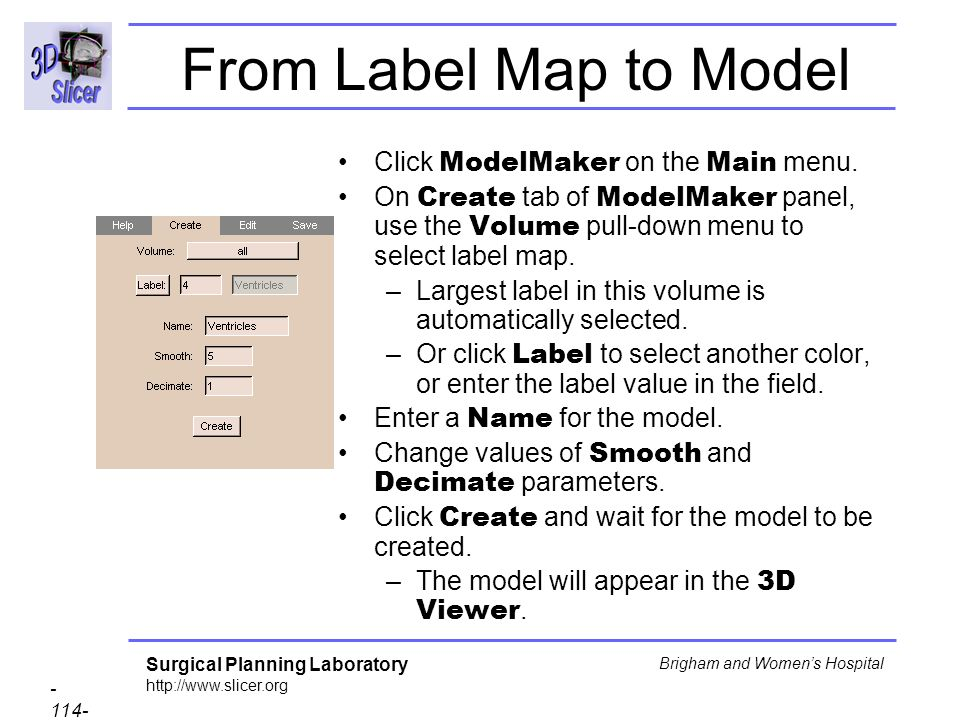 From Label Map to Model Click ModelMaker on the Main menu.