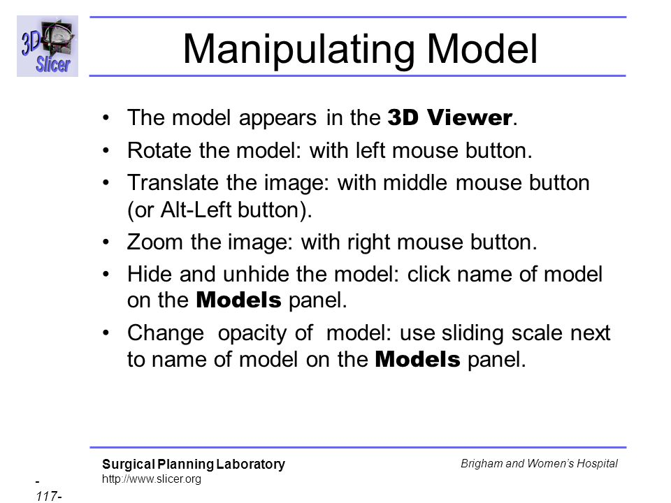 Manipulating Model The model appears in the 3D Viewer.
