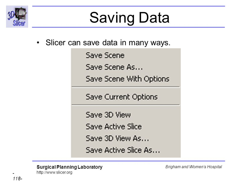 Saving Data Slicer can save data in many ways.