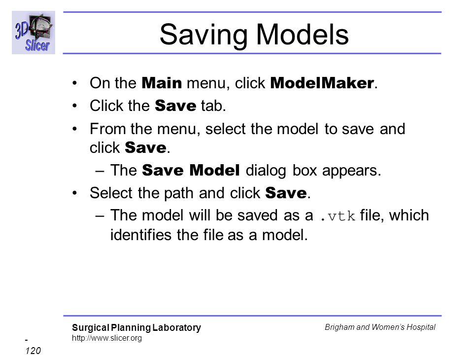 Saving Models On the Main menu, click ModelMaker. Click the Save tab.