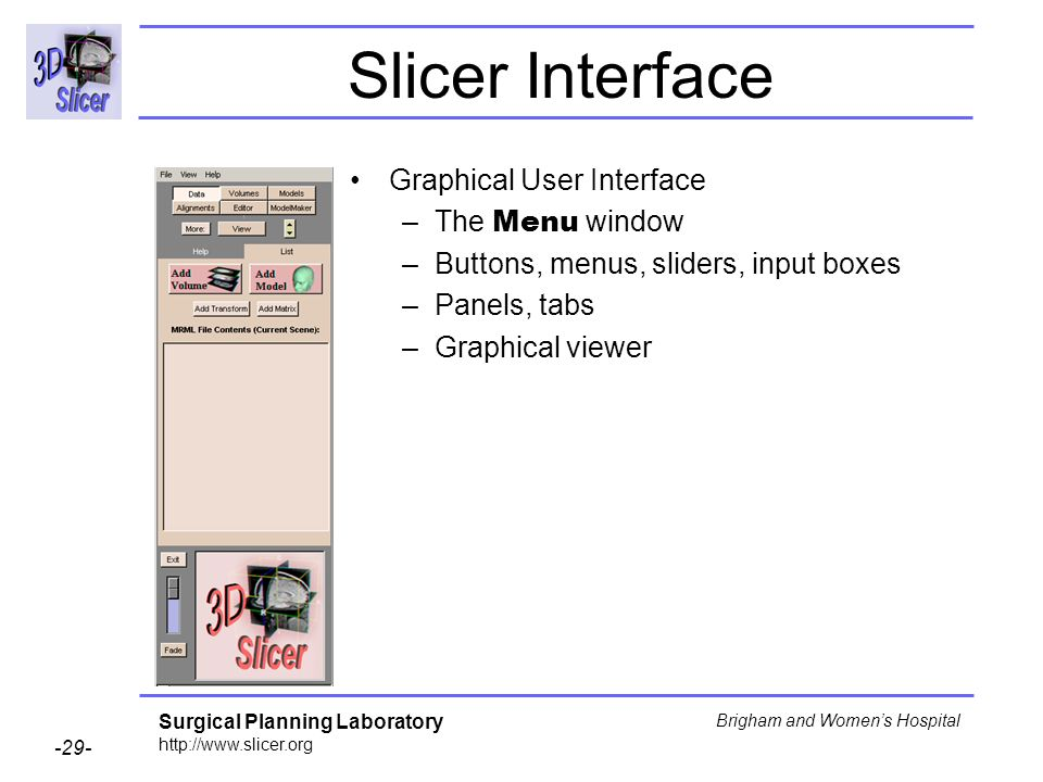 Slicer Interface Graphical User Interface The Menu window