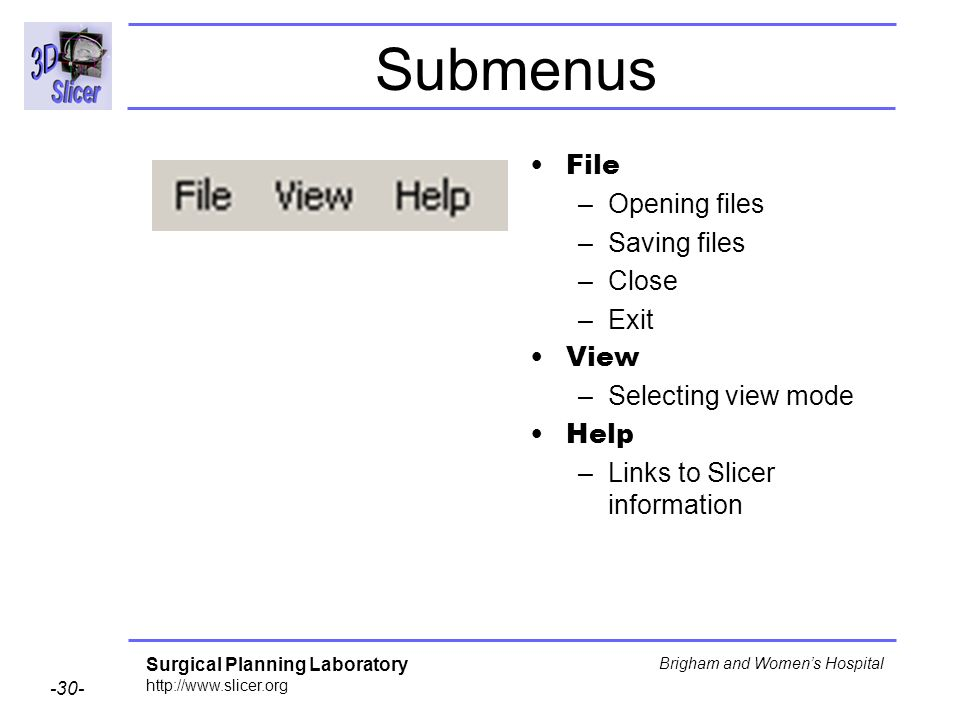 Submenus File Opening files Saving files Close Exit View
