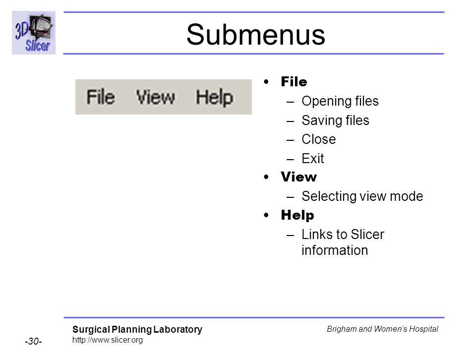 Submenus File Opening files Saving files Close Exit View