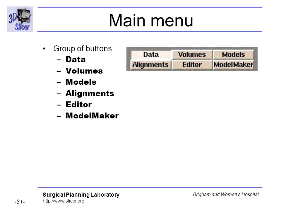 Main menu Group of buttons Data Volumes Models Alignments Editor