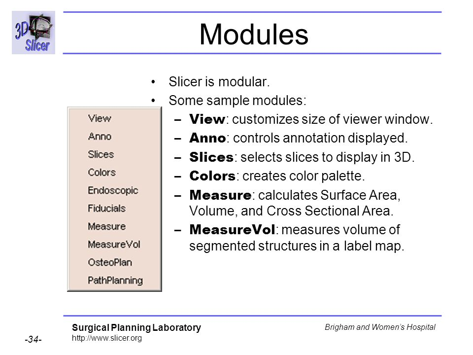 Modules Slicer is modular. Some sample modules: