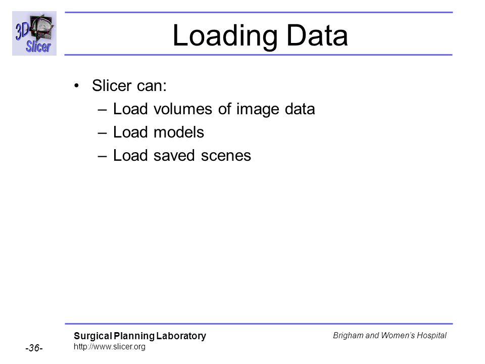 Loading Data Slicer can: Load volumes of image data Load models