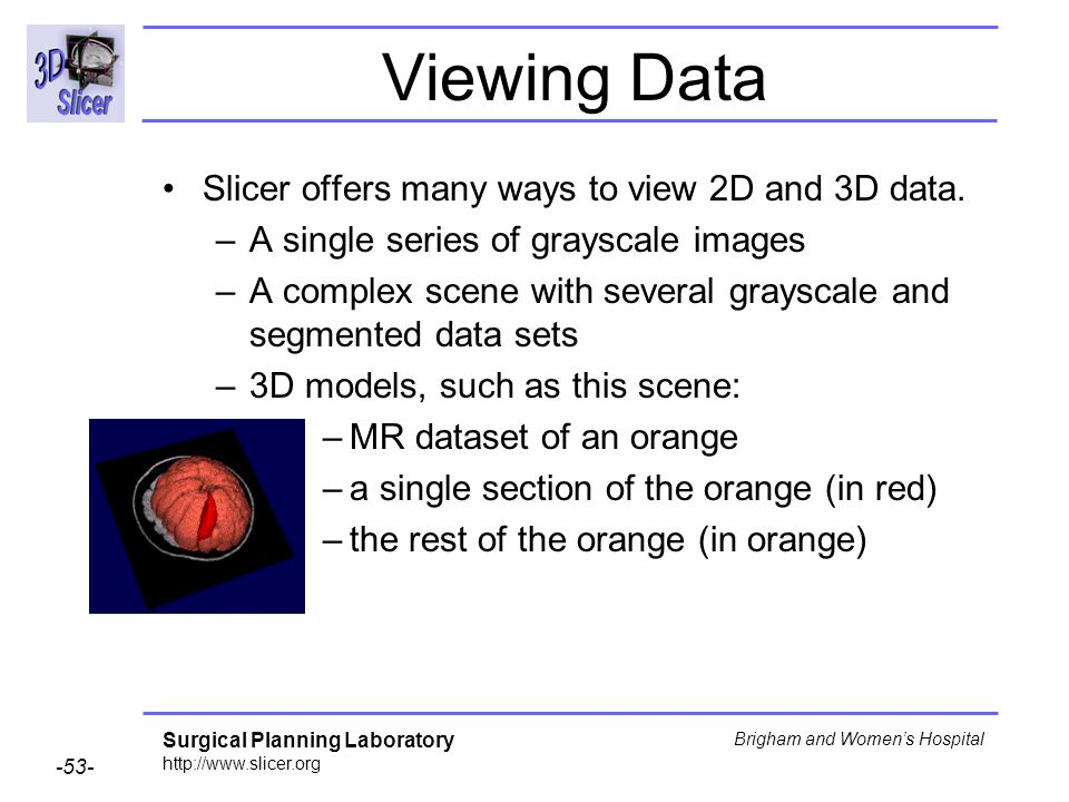 Viewing Data Slicer offers many ways to view 2D and 3D data.