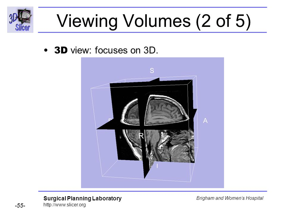Viewing Volumes (2 of 5) 3D view: focuses on 3D.
