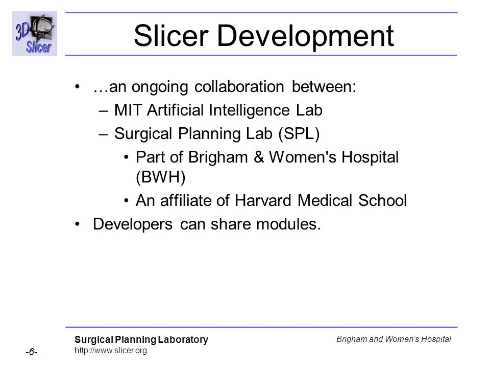 Slicer Development …an ongoing collaboration between: