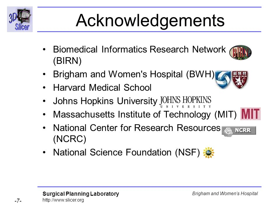 Acknowledgements Biomedical Informatics Research Network (BIRN)