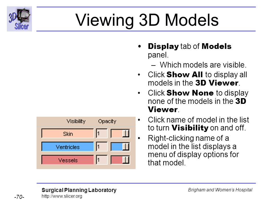 Viewing 3D Models Display tab of Models panel.