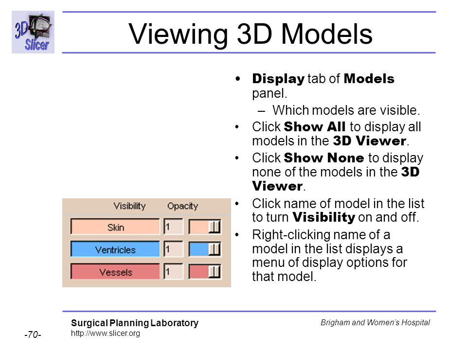 Viewing 3D Models Display tab of Models panel.