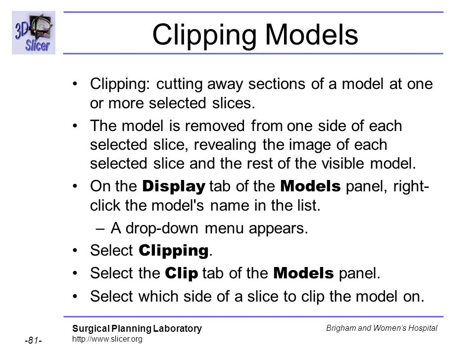 Clipping Models Clipping: cutting away sections of a model at one or more selected slices.