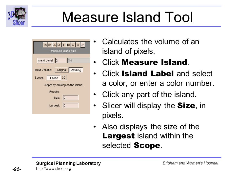 Measure Island Tool Calculates the volume of an island of pixels.